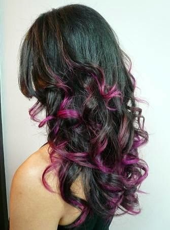Black hair color with purple highlights for summer