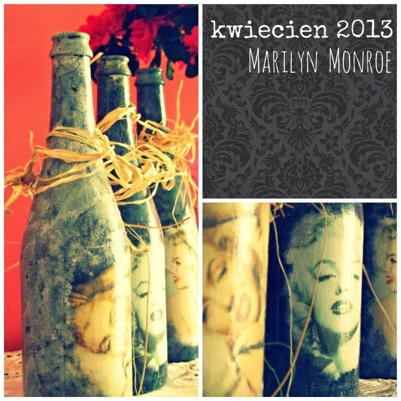 Blog decoupage na butelkach Marilyn Monroe 2013 Eco Manufaktura