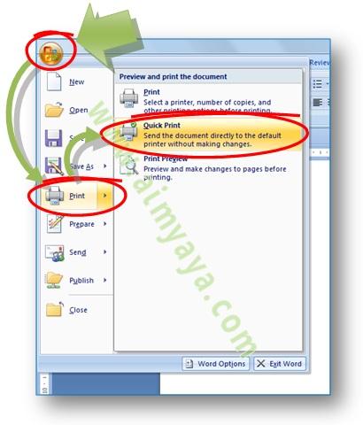 Gambar: cara mencetak / print dengan cepat di Microsoft Word 2007