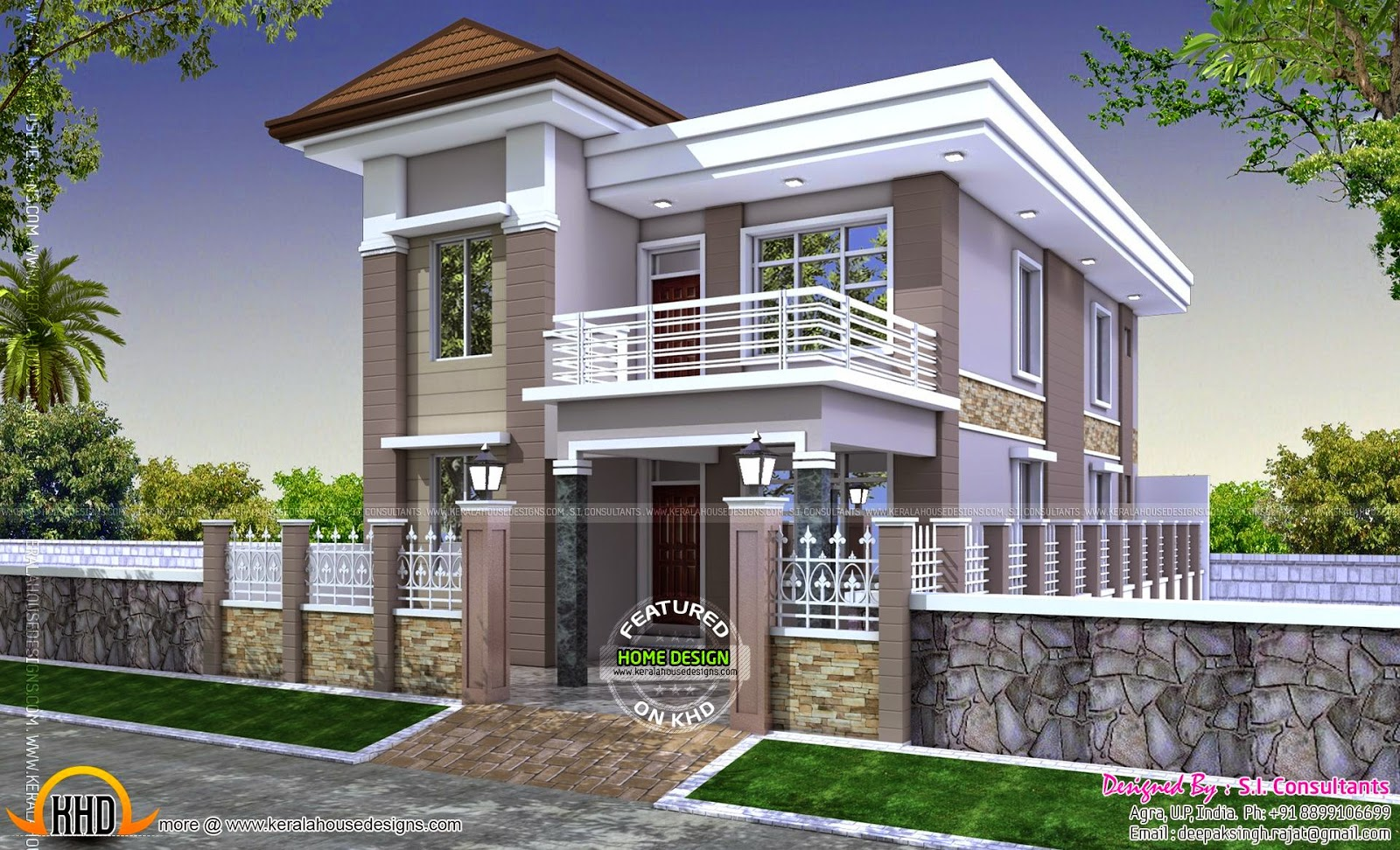 Duplex house plan india kerala home design and floor plans for 2 bedroom house designs in india