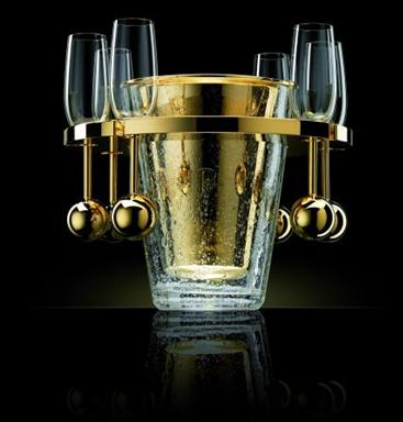 van perckens solid gold champagne cooler ice bucket