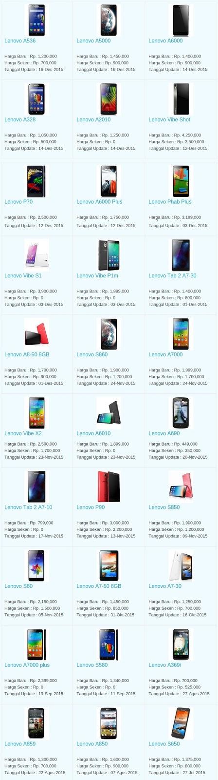 Daftar Harga Hp Lenovo Januari 2016