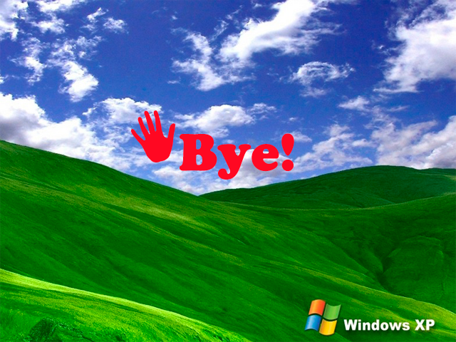 Fondo de pantalla de Windows XP con el texto: Bye!, haciendo alusión al fin del servicio de soporte para este S.O