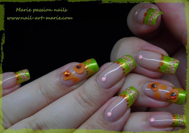 Nail Art French fleurie4