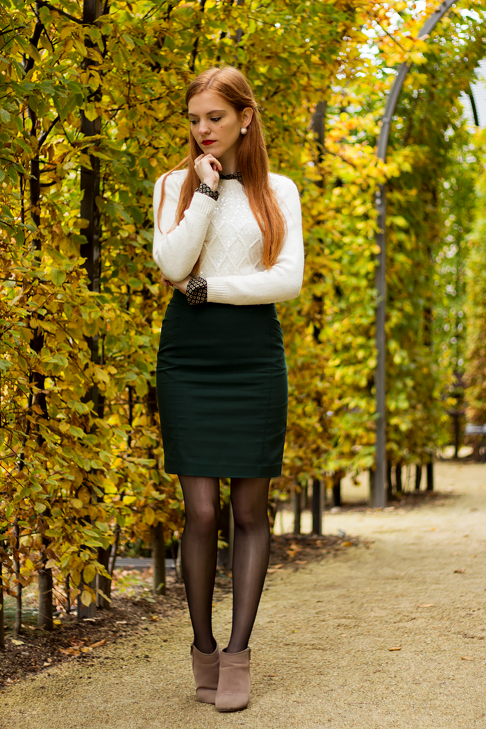 Preppy fashion blogger outfit with blouse under sweater and a pencil skirt