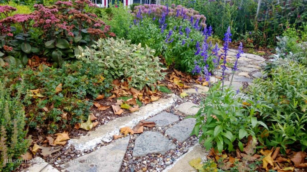 stone path flower garden