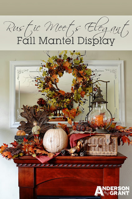 Rustic Meets Elegant Fall Mantel Display | www.andersonandgrant.com