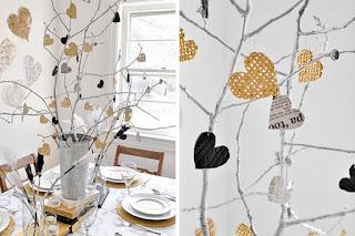 Jantar romântico árvore de corações