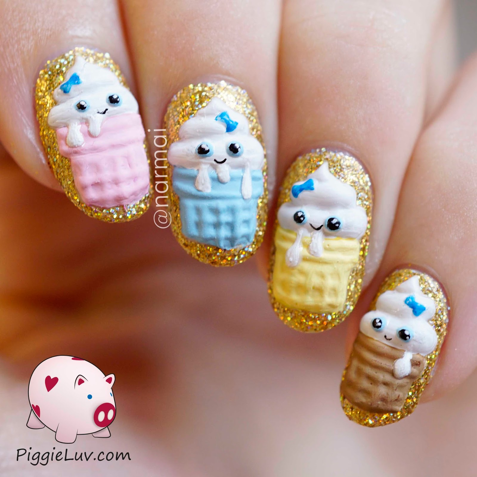 PiggieLuv: 3D Kawaii birthday cupcakes nail art