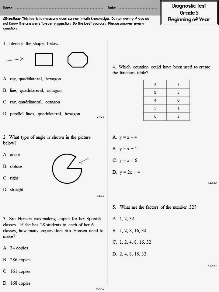 Versatile image with free printable diagnostic math assessment