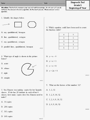 Give this math test at the beginning of the year in 5th grade to see exactly where your students are.