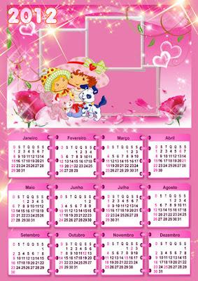 Calendario 2012 com moldura - Moranguinho