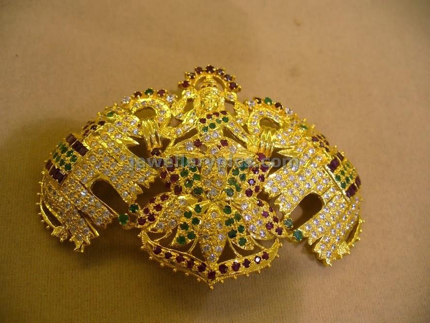 stone studded gold lakshmi vaddanam billa