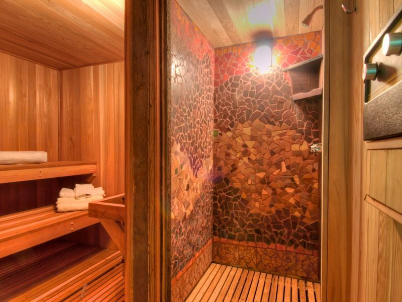 photo of bathroom inside of tree house in the forest