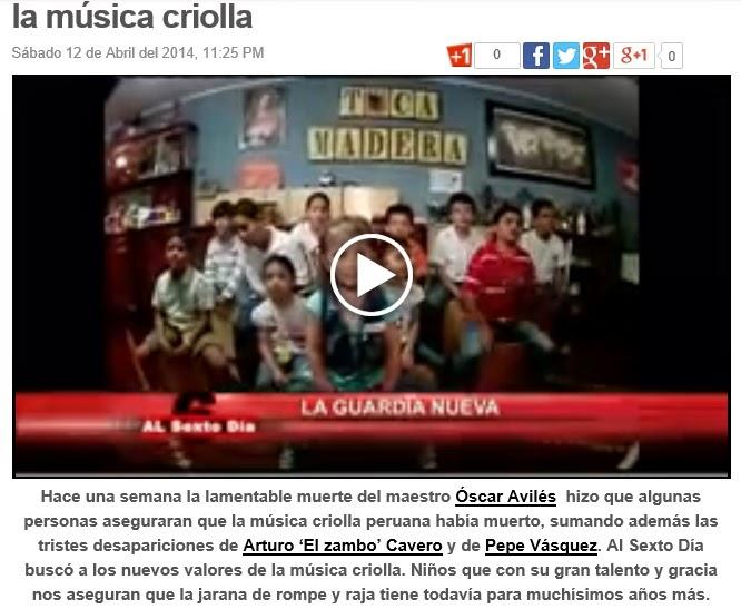 Toca Madera en Panamericana TV en el programa Al sexto Día