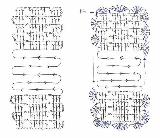 foto 3 pasacintas crochet: esquema pasacintas con puntilla en forma de abanico de crochet para utilizar como guarda lomos de álbumes de scrapbook