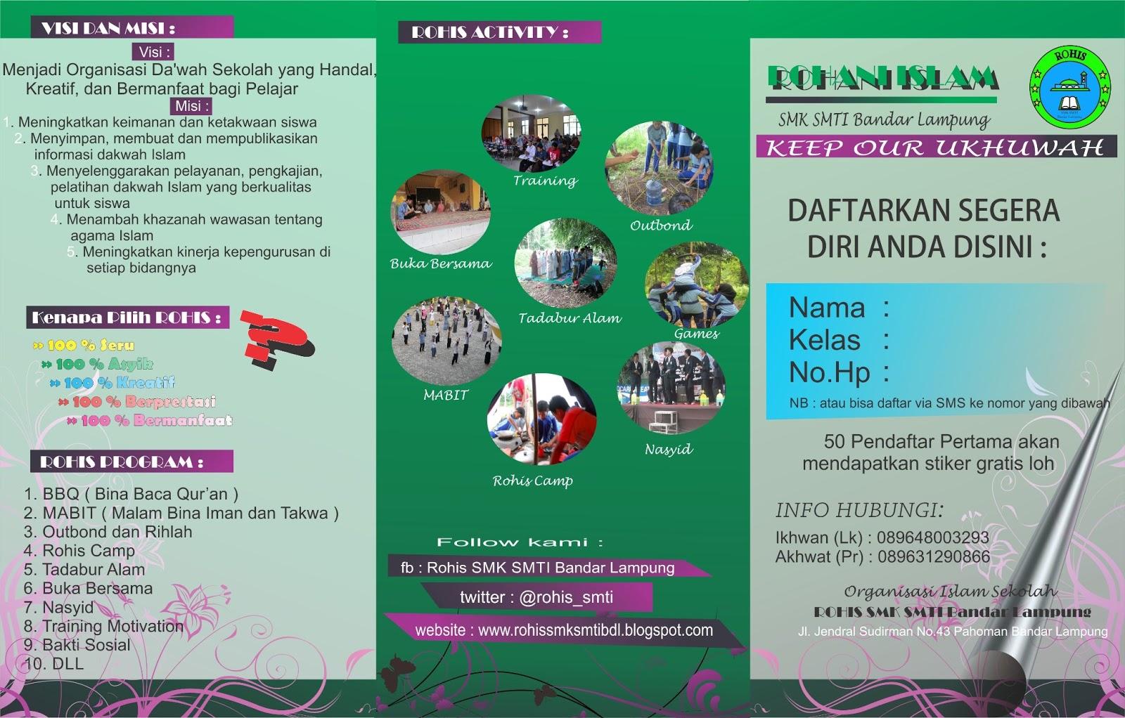 Desain Brosur Anggota Baru Rohis 2013 Rohis Smti Bandar Lampung