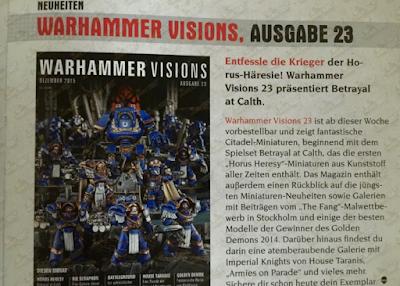 el nuevo número de Warhammer Visions se centre en Herejía de HOrus Traición en Calth