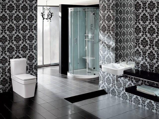 motif hitam batik unik dinding kamar mandi