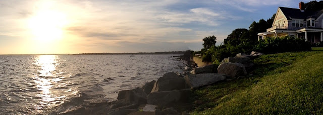 panorama including house on Narragansett Bay