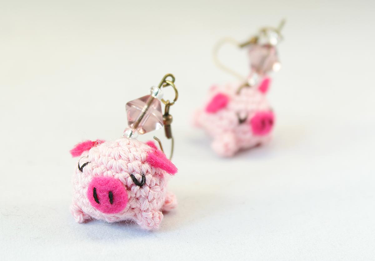 Amigurumi piglet earrings crochet jewelry The Sun and ...