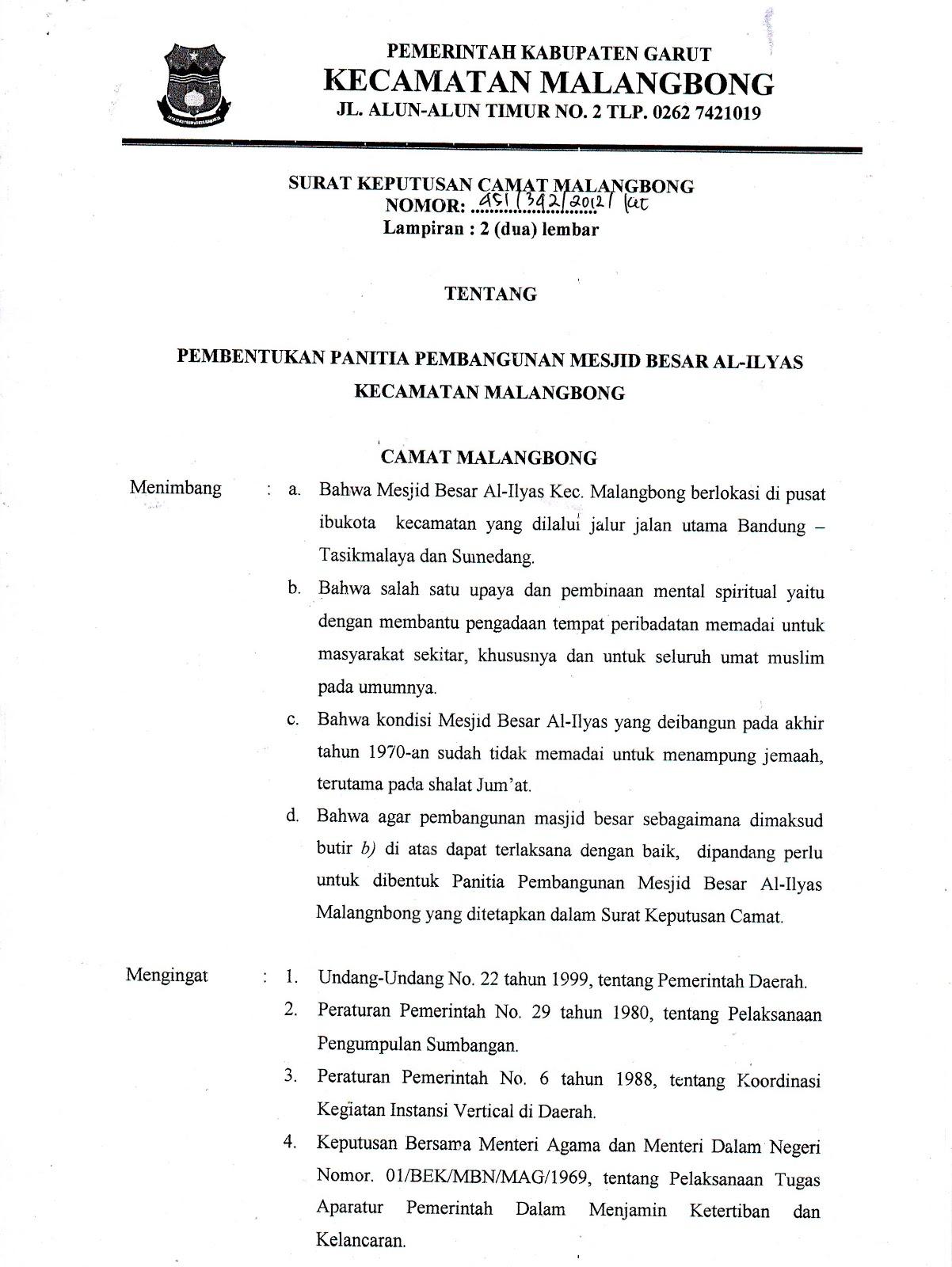 Berikut ini salinan Surat Keputusan Kepanitiaan