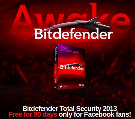 license key or serial key for 90 days of bitdefender total security 2013