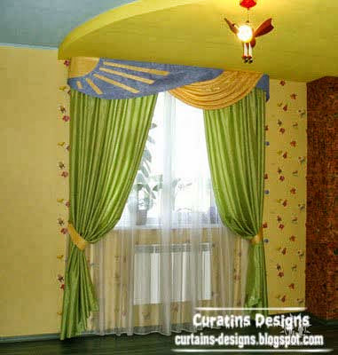 Contemporary Curtain Design For Children, Green Curtain For Kids Room