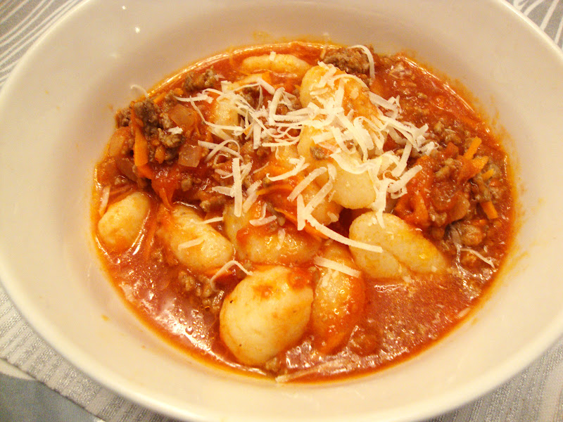 my back pages: gnocchi with quick meat sauce