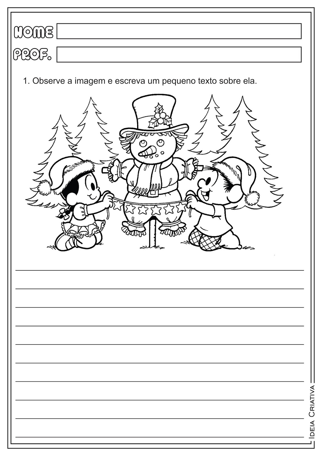 Atividades Natal Produção Textual Turma da Mônica