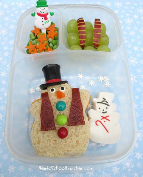 Frosty the snowman, Christmas, bento school lunches