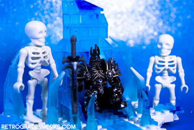 Lich King Arthas on the Frozen Throne with Skelebuddies