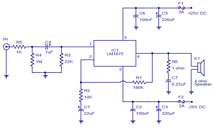 Excellent Simple Electronic Circuit Diagram 20W Audio Amplifier Using Lm1875 Wiring Digital Resources Almabapapkbiperorg