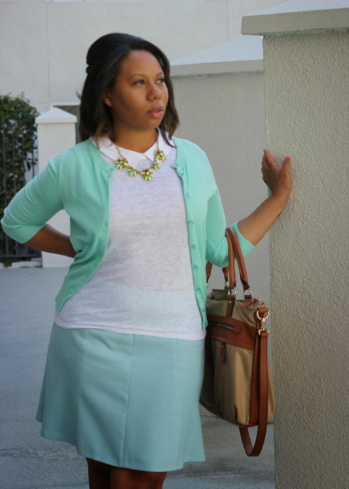 Loft Pale Blue Skirt and Aqua J. Crew Cardi
