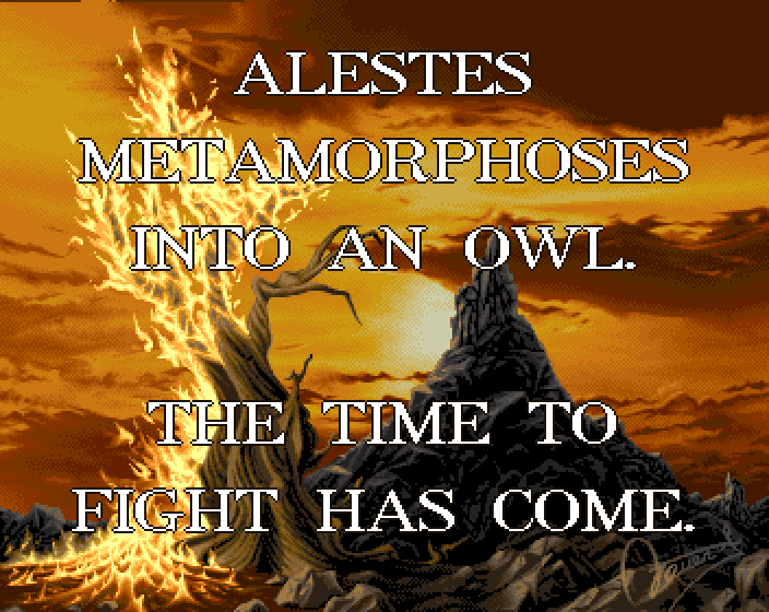 Alestes metamorphoses into an owl. The time to fight has come.