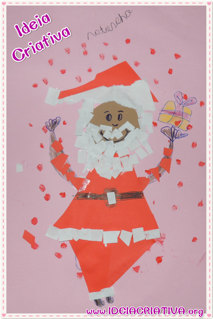 Papai Noel Atividade Colagem de Pedaços de Papel