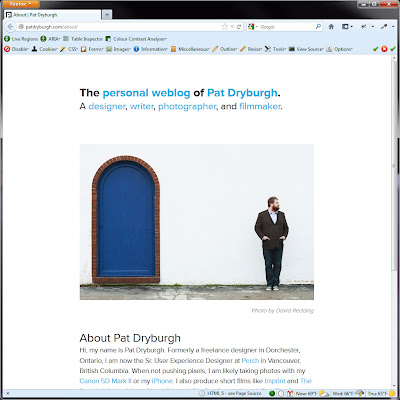 Screen shot of http://patdryburgh.com/about/.
