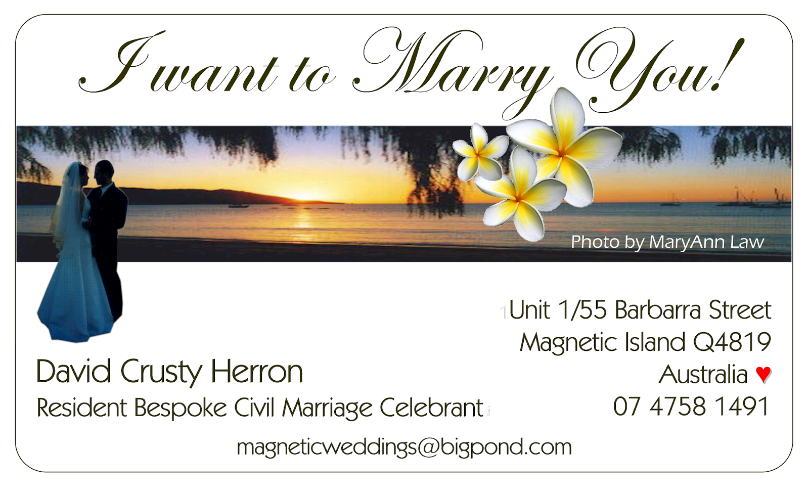 Magnetic Island Weddings Ceremony Help Line: I want to Marry You ...
