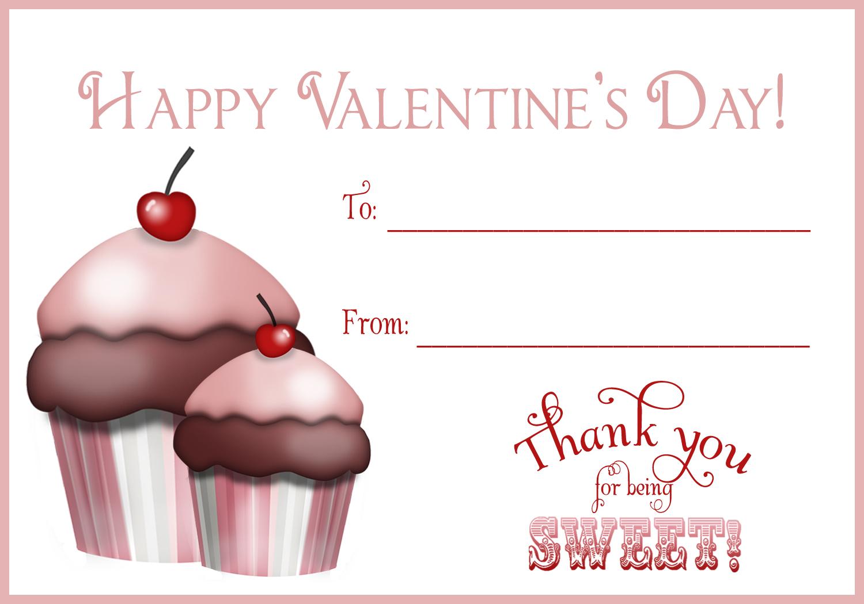 Green Beansie Ink Free Printables Valentines Day Cards – Cupcake Valentine Card