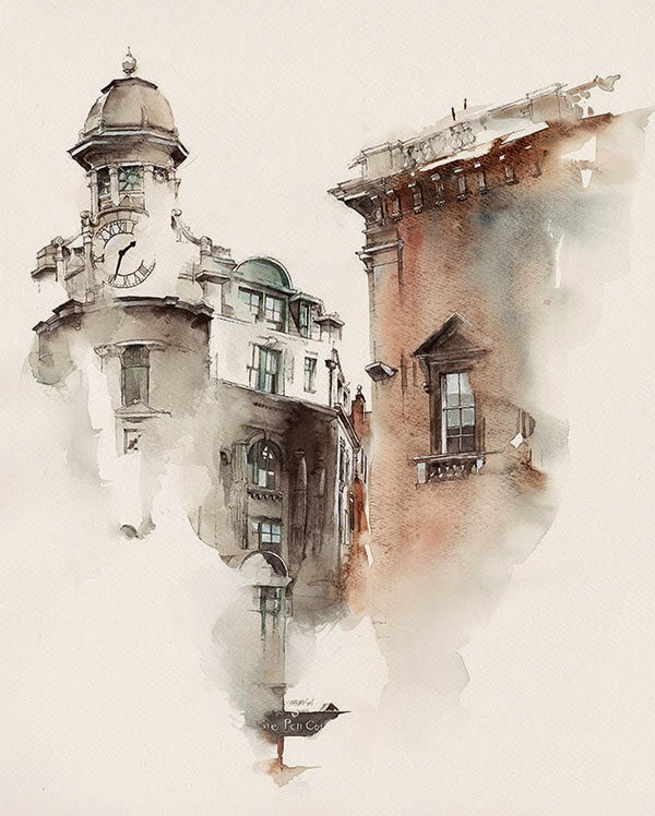 Water colour picture of Dublin, Ireland