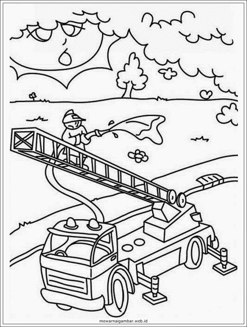 gambar mewarnai pemadam kebakaran memadamkan api