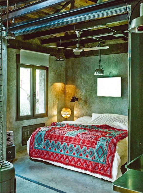 dormitorio vintage e industrial