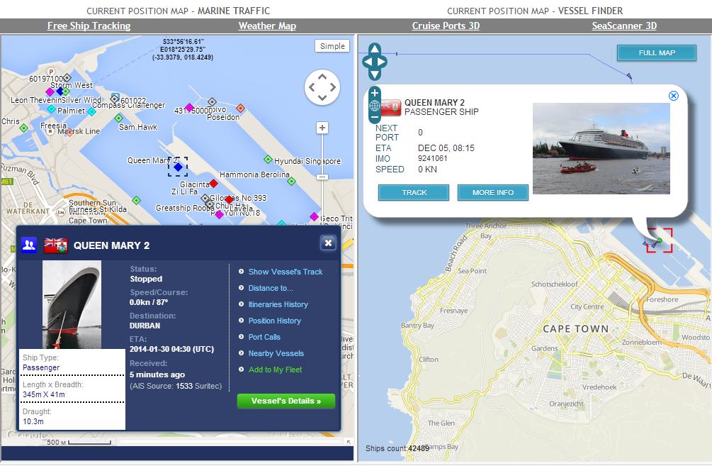cruise ships dual tracking
