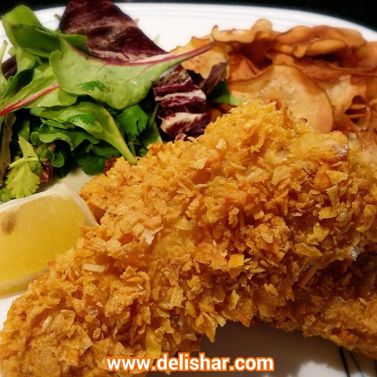 Delishar crispy cornflake baked fish for Crispy oven baked fish