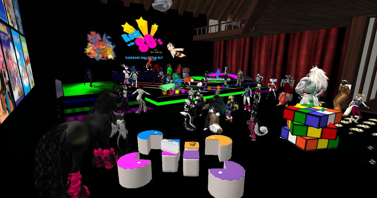 Second life newser the luskwood 80 39 s party for 80s theme party decoration