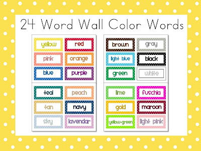 First Class Teacher: More FREE Polka Dot Color Words