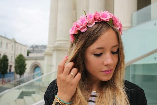 Headband Couronne Fleurs Rose Cheveux