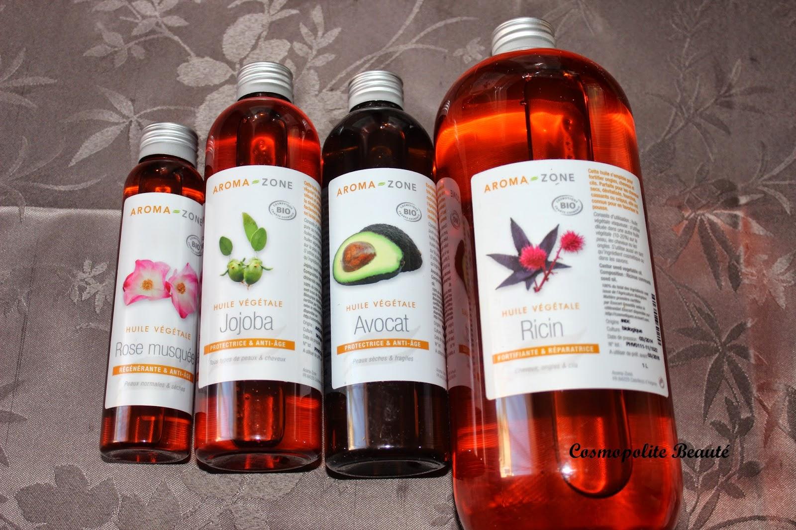 huiles végétales, jojoba, ricin, avocat, aroma-zone