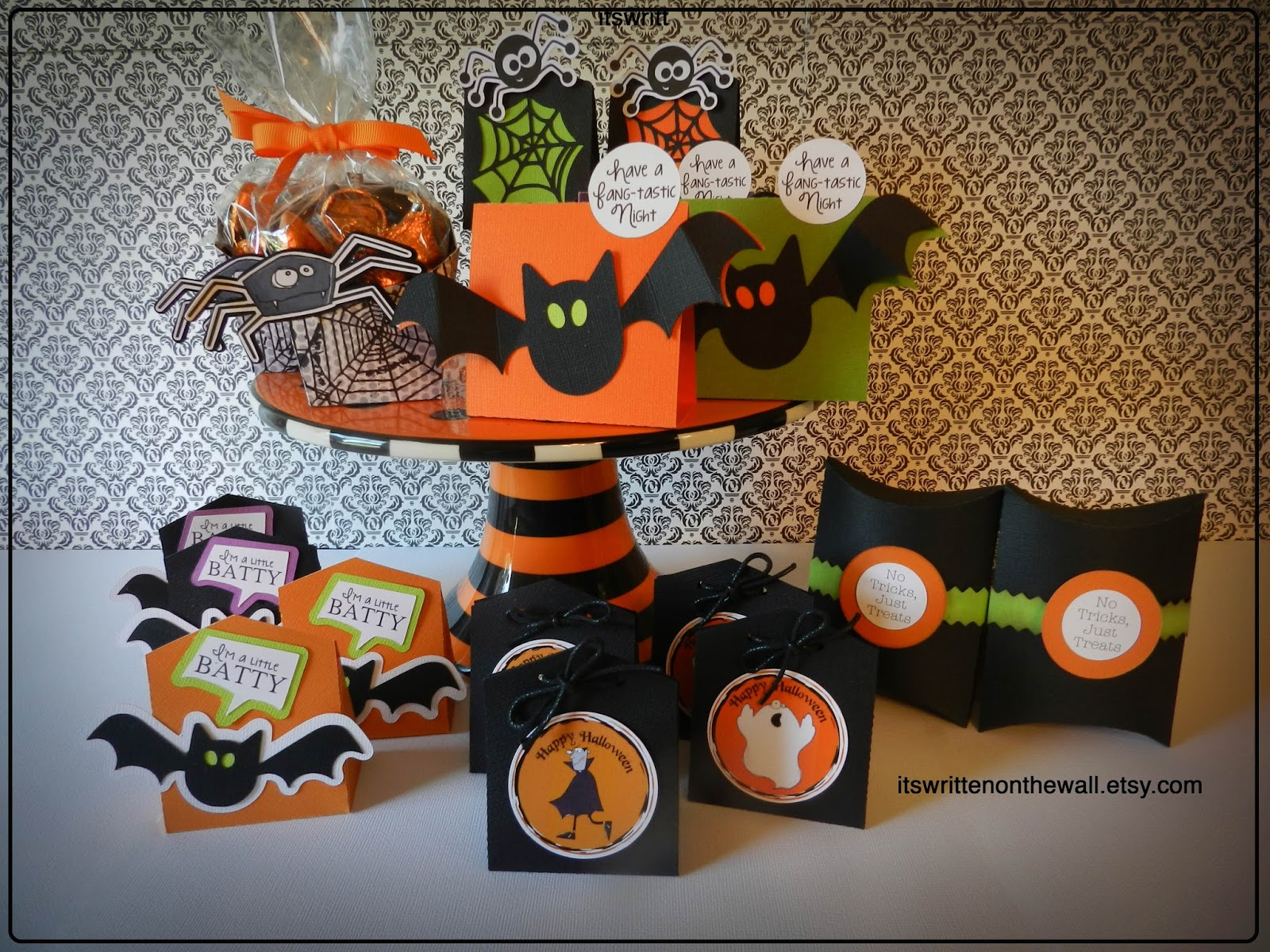 Classroom Birthday Party Favors ~ It s written on the wall lots of halloween treat boxes
