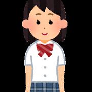 ブレザーを着た女子学生のイラスト(夏服・学生服)